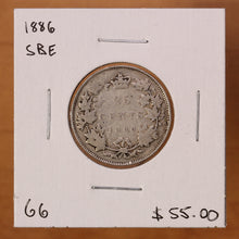 Load image into Gallery viewer, 1886 - Canada - 25c - SBE - G6 - retail $55