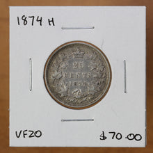 Load image into Gallery viewer, 1874 H - Canada - 25c - VF20 - retail $70