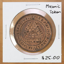 Load image into Gallery viewer, SOLD - Grand Valley, Ontario - Masonic Token