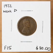 Load image into Gallery viewer, 1922 - USA - 1c - Weak D - F15 - retail $80