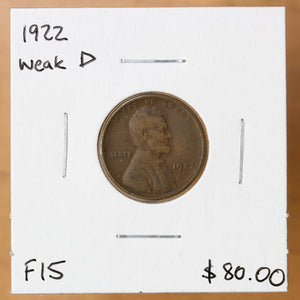 1922 - USA - 1c - Weak D - F15 - retail $80