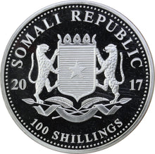 Load image into Gallery viewer, 2017 - Somali Republic - 100 Shillings - Elephant (Coloured) - Pure Silver - 1 oz. Round