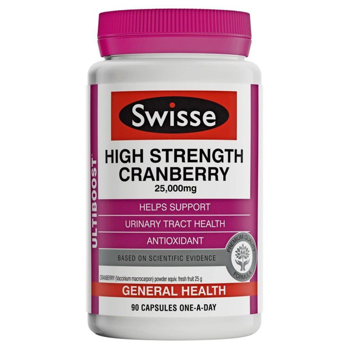 Swisse Ultiboost High Strength Cranberry 25000mg 90 Capsules Expiry Date 10/21