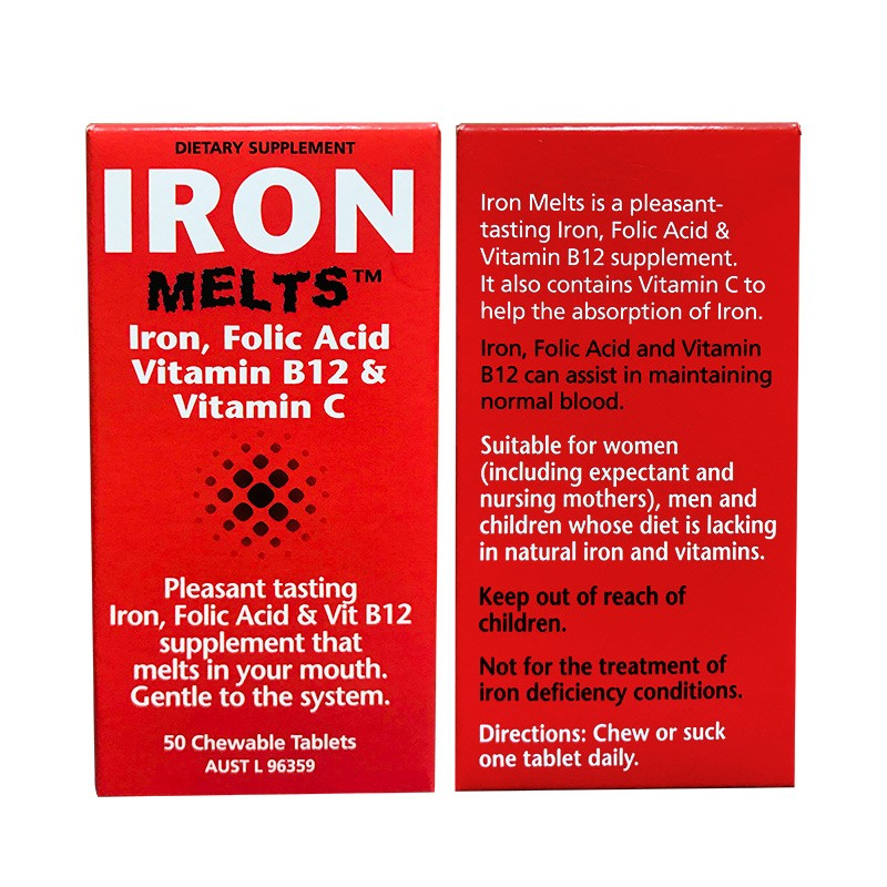 Clinicians Iron Melts Tablets 100mg (50 Tablets)