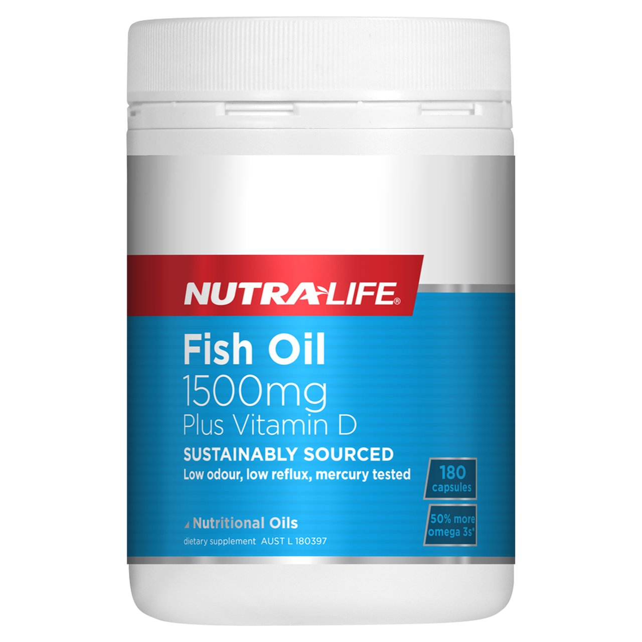 Nutra-Life Fish Oil 1500mg Plus Vitamin D 180 Caps