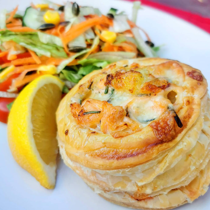 Cheesy Salmon & Potato Pies