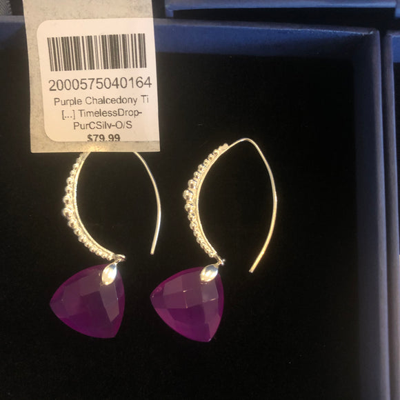 Semi Precious Stone Earrings - Purple & Silver