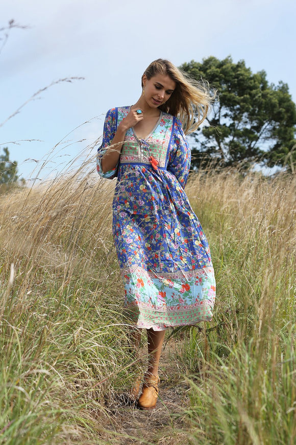 Miriam Boho Dress by Tulle & Batiste in Blue