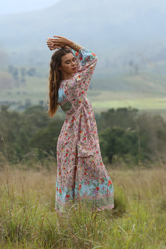 Miriam Boho Dress by Tulle & Batiste in Lotus (Pink)