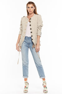 Button Jacket in Heavy Linen with Lace