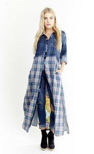 Ombre Teal Plaid Maxi Duster