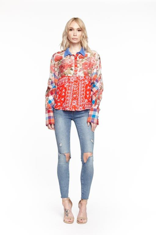 Red Blue Ivory Shirt