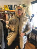 Puffer Jacket in Light Bronze with Fur