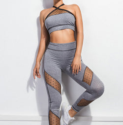 GREY SOLID CONTRAST LACE SHEER SET