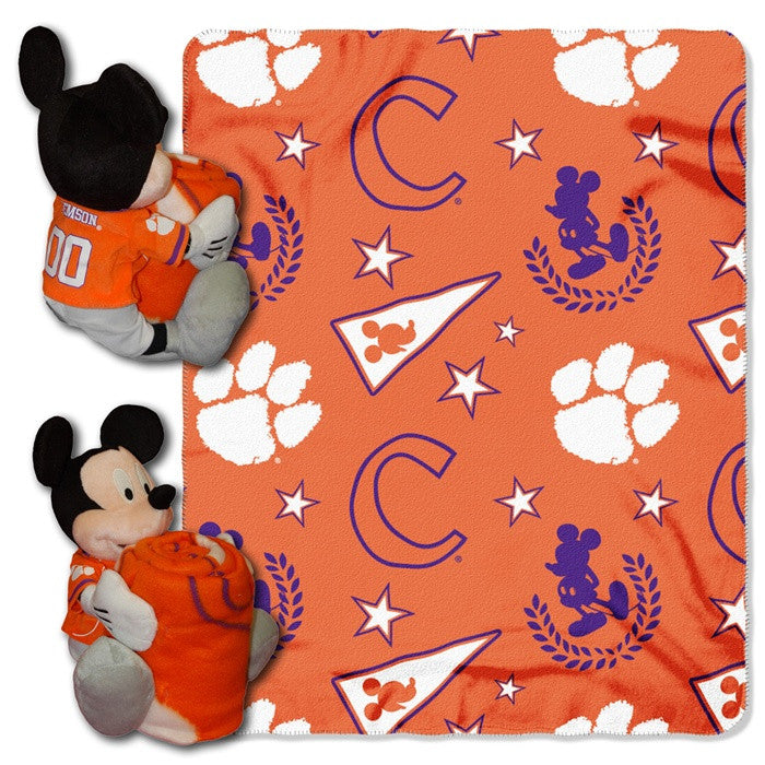Clemson Tigers Mickey Mouse Hugger with Throw - Sports Fans Plus