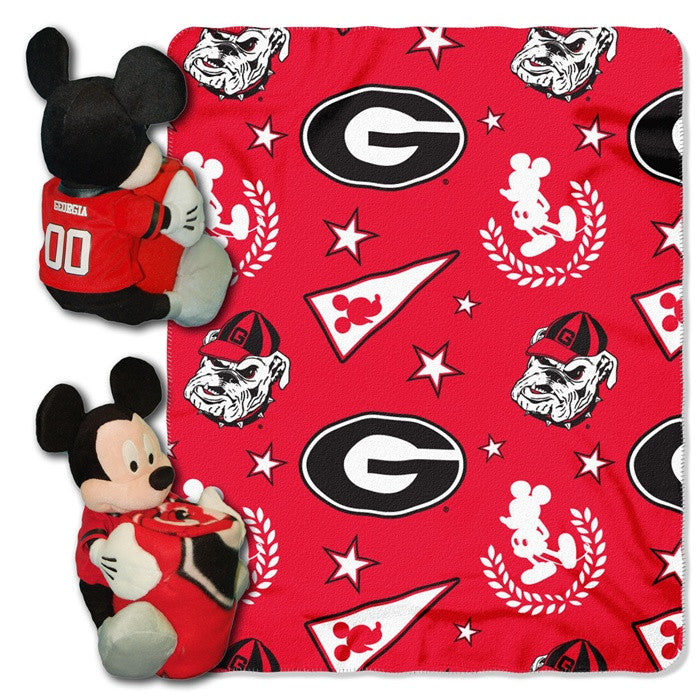 Georgia Bulldogs Mickey Mouse Hugger with Throw - Sports Fans Plus