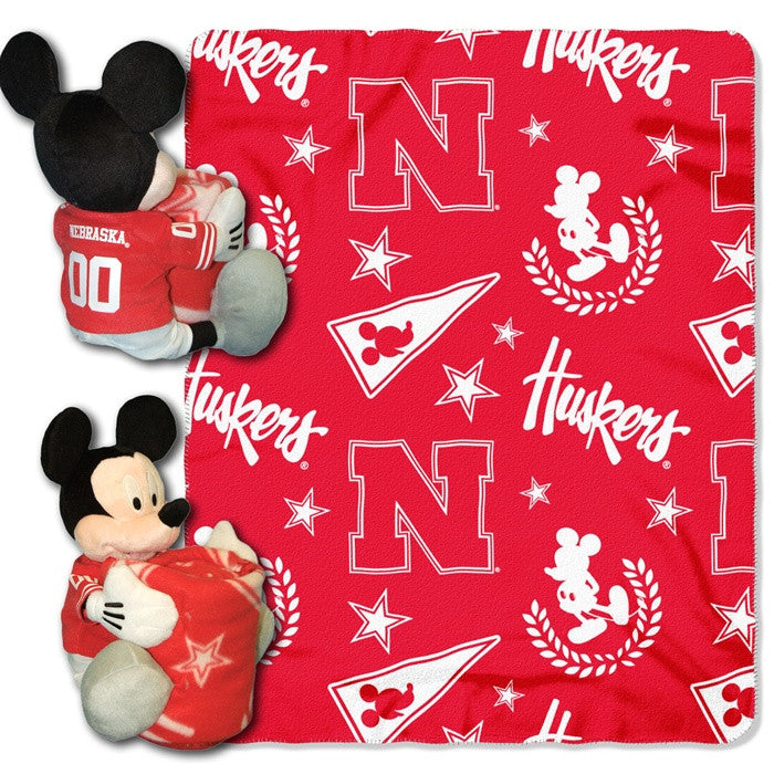 Nebraska Huskers Mickey Mouse Hugger with Throw - Sports Fans Plus