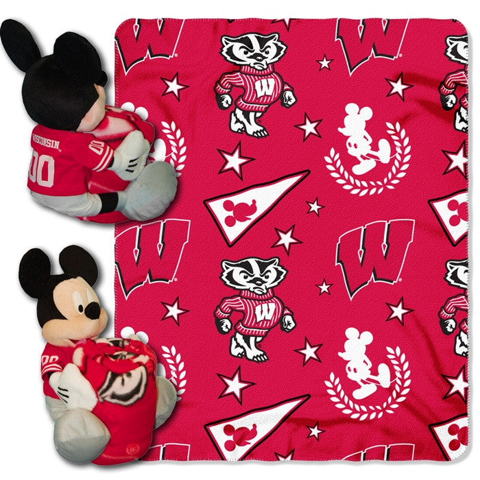 Wisconsin Badgers Mickey Mouse Hugger with Throw - Sports Fans Plus