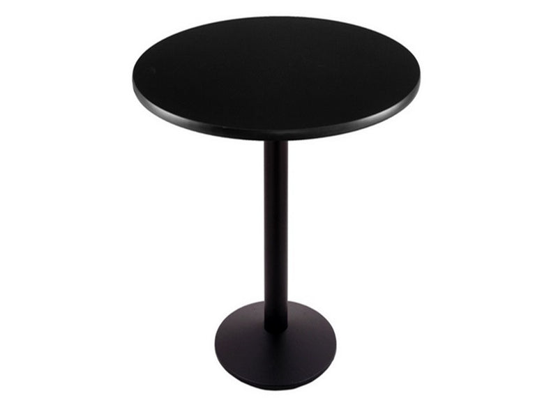 Black Round-Base Commercial Table - Black Top