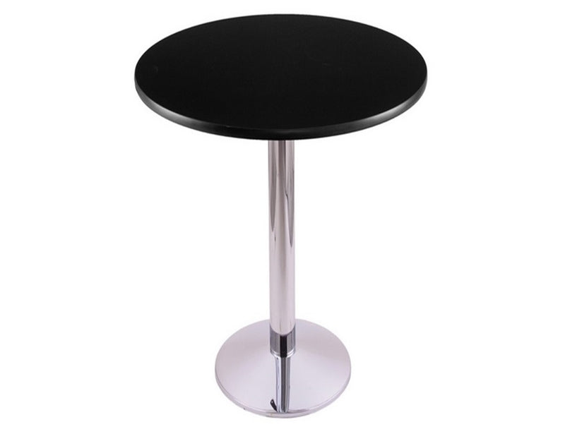 Chrome Round-Base Commercial Table - Black Top