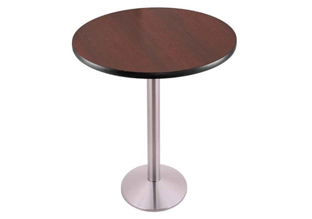 Stainless Steel Round-Base Commercial Table - Mahogany Top