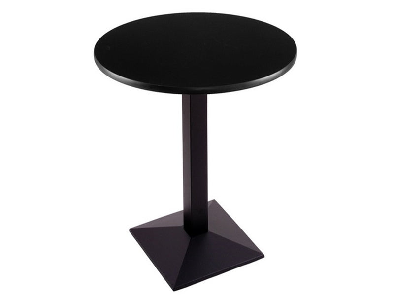 Black Square-Base Commercial Table - Black Top