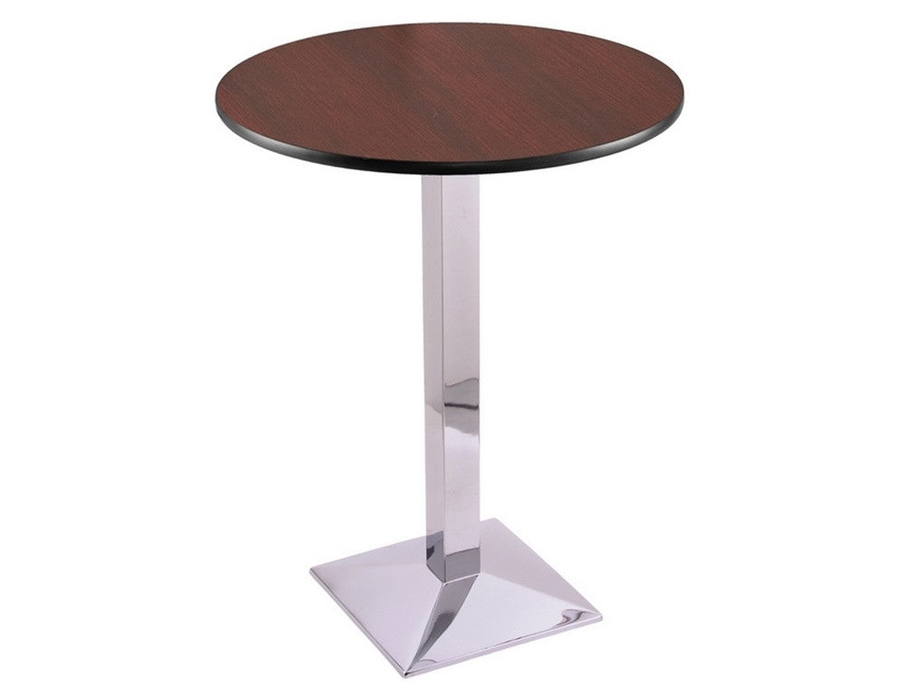 Chrome Square-Base Commercial Table - Mahogany Top