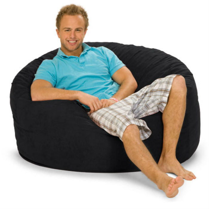 Black Microsuede 4-Foot Original Relax Sack - Sports Fans Plus