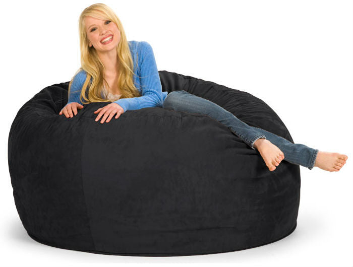 Black Microsuede 5-Foot Original Relax Sack - Sports Fans Plus