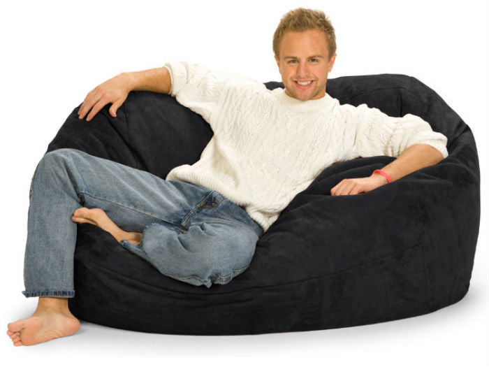 Black Microsuede 5-Foot Lounger Relax Sack - Sports Fans Plus