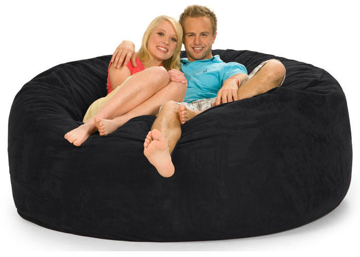 Black Microsuede 6-Foot Original Relax Sack - Sports Fans Plus