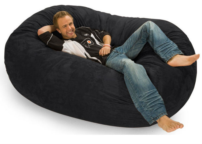 Black Corduroy 6-Foot Lounger Relax Sack - Sports Fans Plus