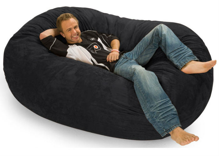 Black Microsuede 6-Foot Lounger Relax Sack - Sports Fans Plus