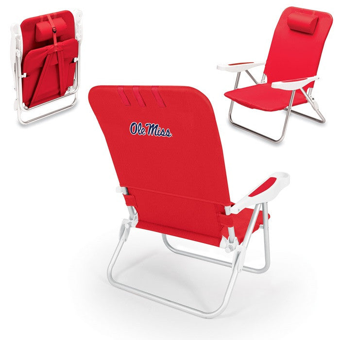 Mississippi Rebels Monaco Red Beach Chair - Sports Fans Plus