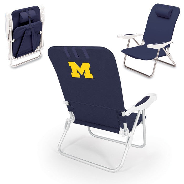 Michigan Wolverines Monaco Blue Beach Chair - Sports Fans Plus