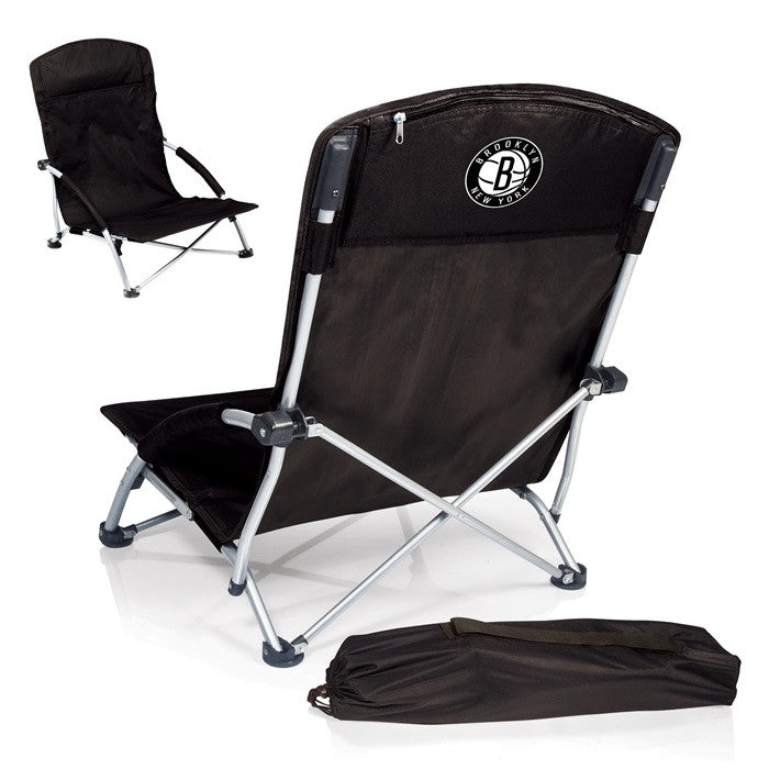 Brooklyn Nets NBA Tranquility Black Beach Chair - Sports Fans Plus