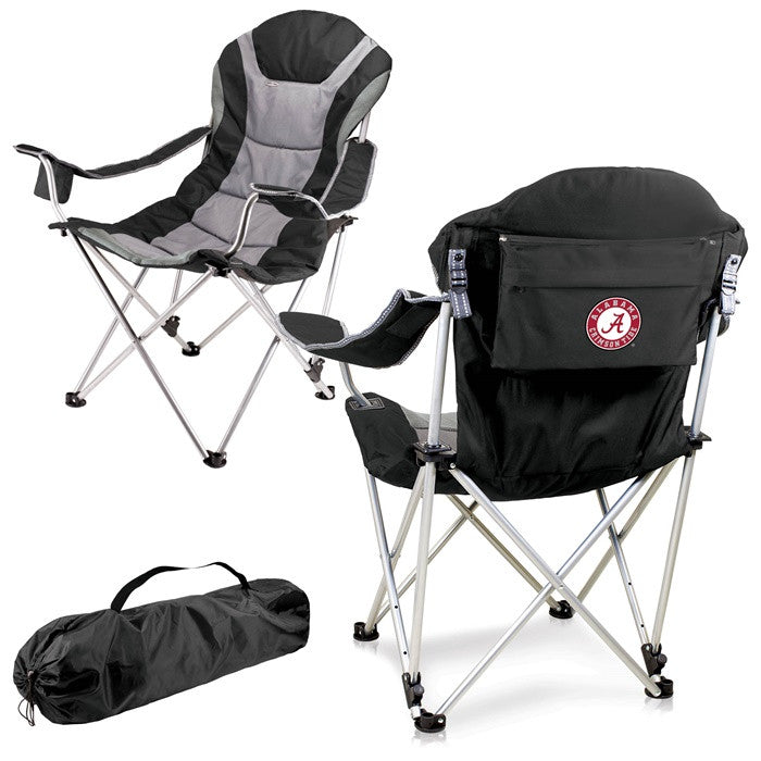 Alabama Crimson Tide Black Reclining Camp Chair