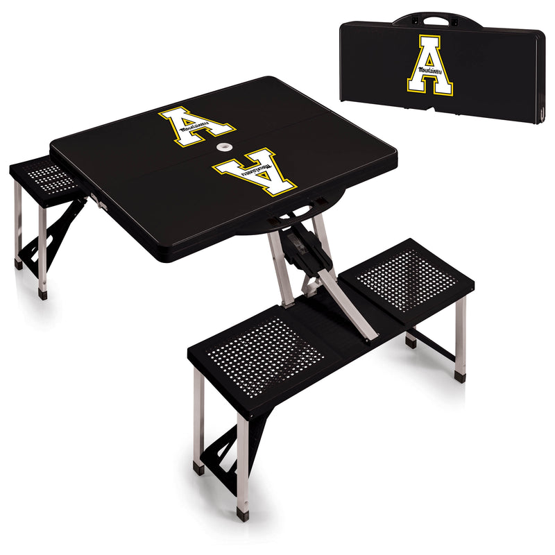 Appalachian State Mountaineers Black Portable Picnic Table