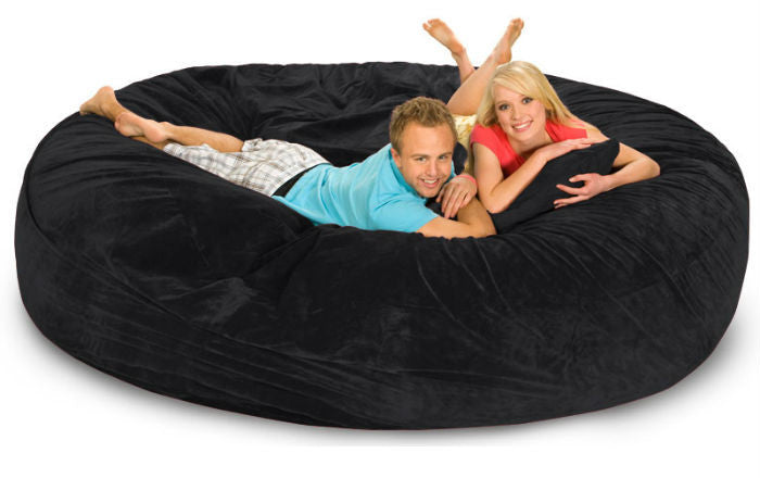 Black Microsuede 8-Foot Original Relax Sack - Sports Fans Plus