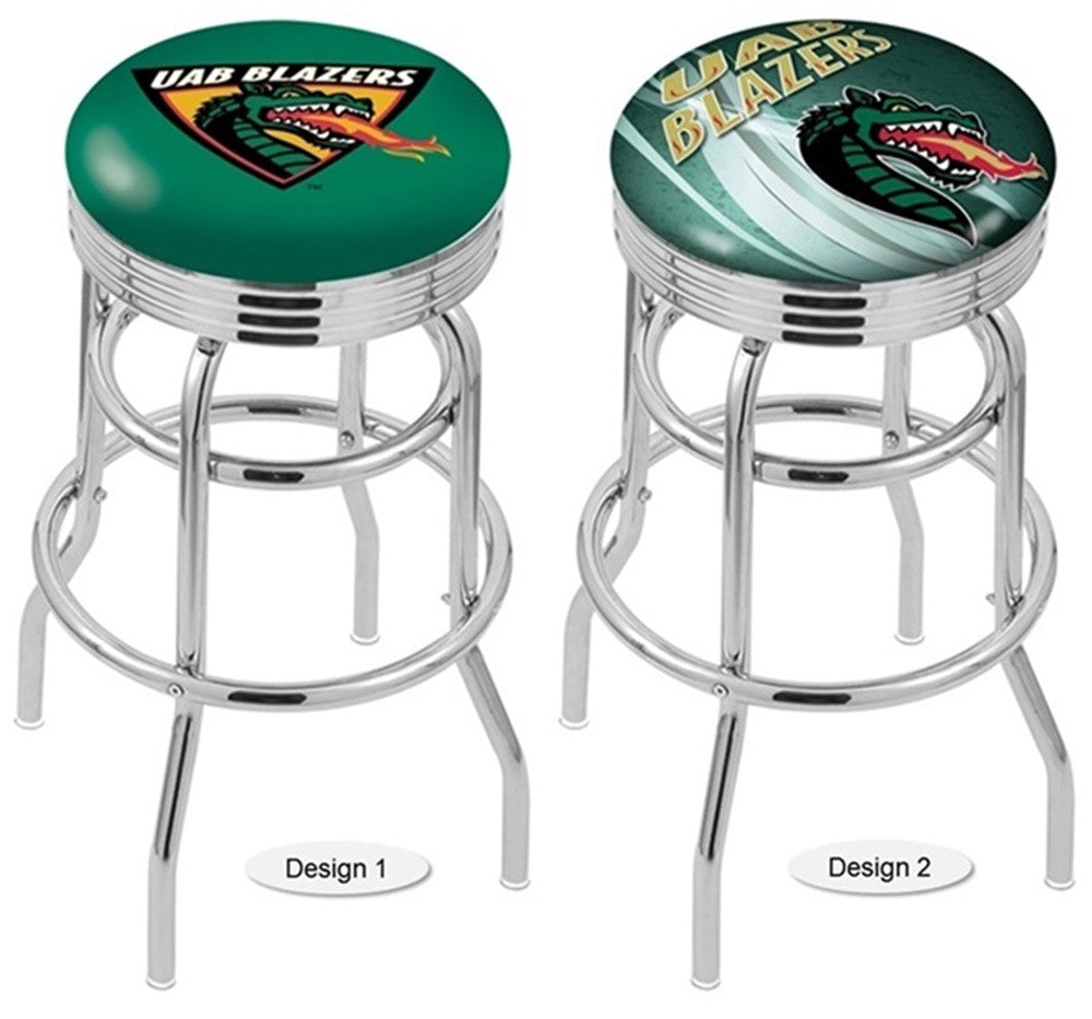 Alabama at Birmingham Blazers Retro Chrome Ribbed Ring Bar Stool
