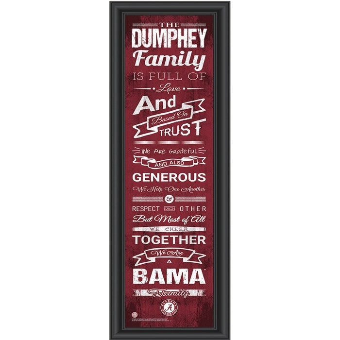 Alabama Crimson Tide Personalized Family Cheer Print - SportsFansPlus.com
