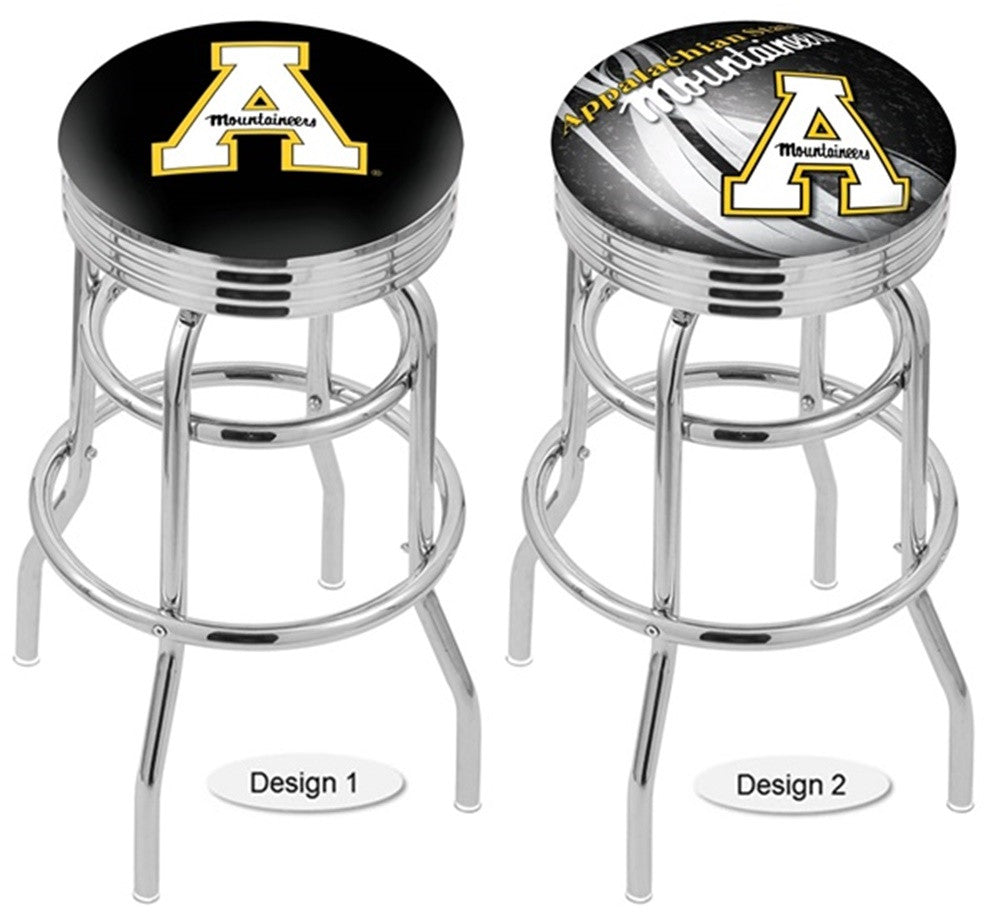 Appalachian State Mountaineers Retro Chrome Ribbed Ring Bar Stool