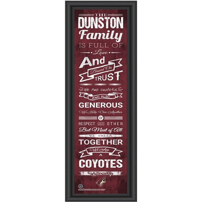 Arizona Coyotes NHL Personalized Family Cheer Print