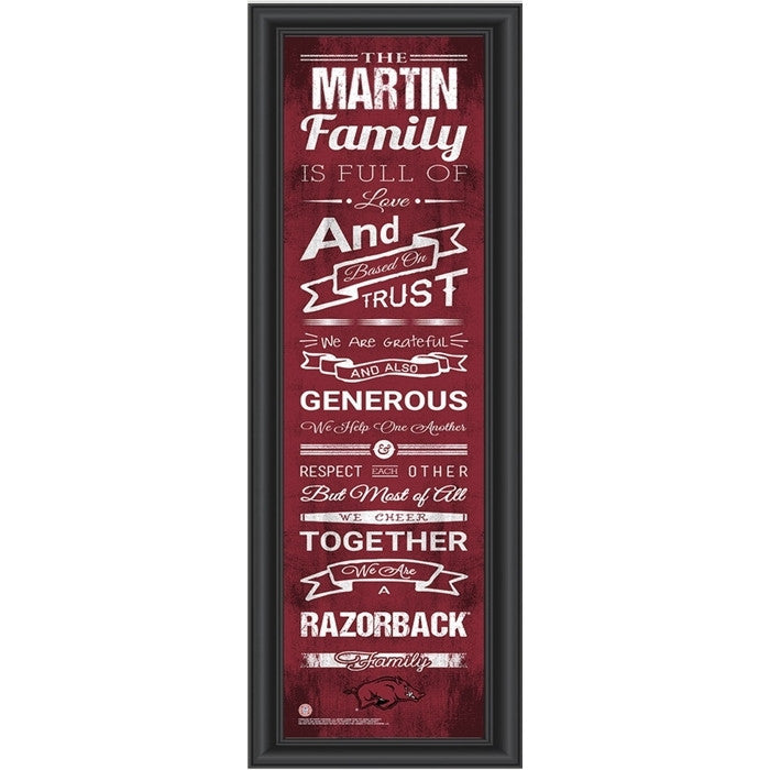 Arkansas Razorbacks Personalized Family Cheer Print - Sports Fans Plus