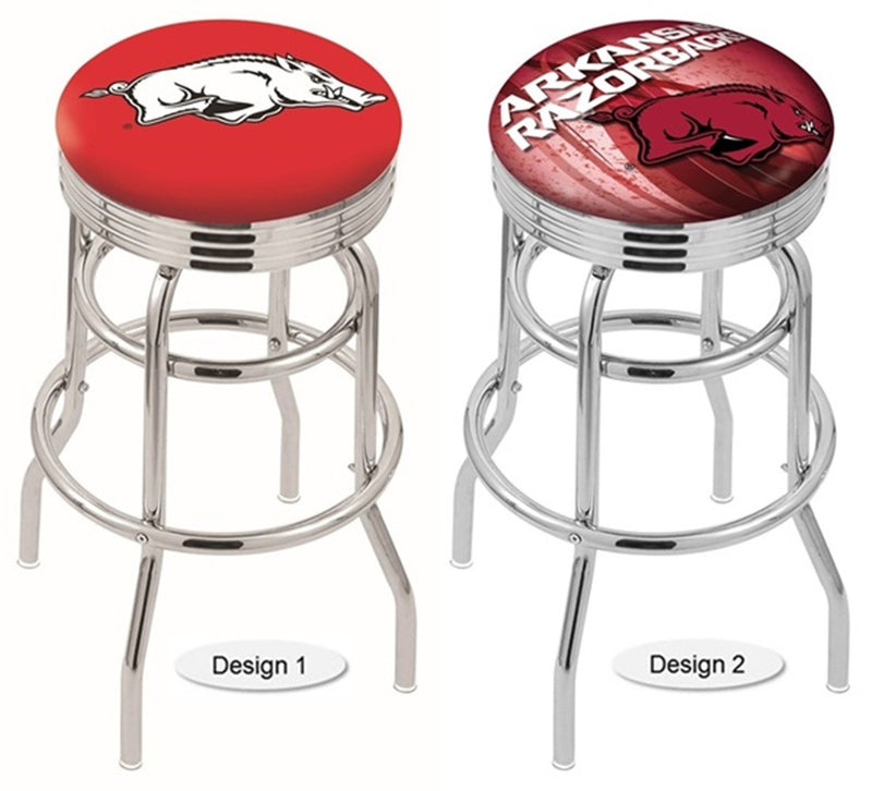 Arkansas Razorbacks Retro Chrome Ribbed Ring Bar Stool