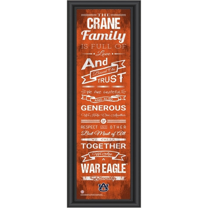 Auburn Tigers Personalized Family Cheer Print - Sports Fans Plus