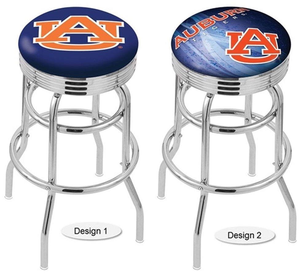 Auburn Tigers Retro Chrome Ribbed Ring Bar Stool