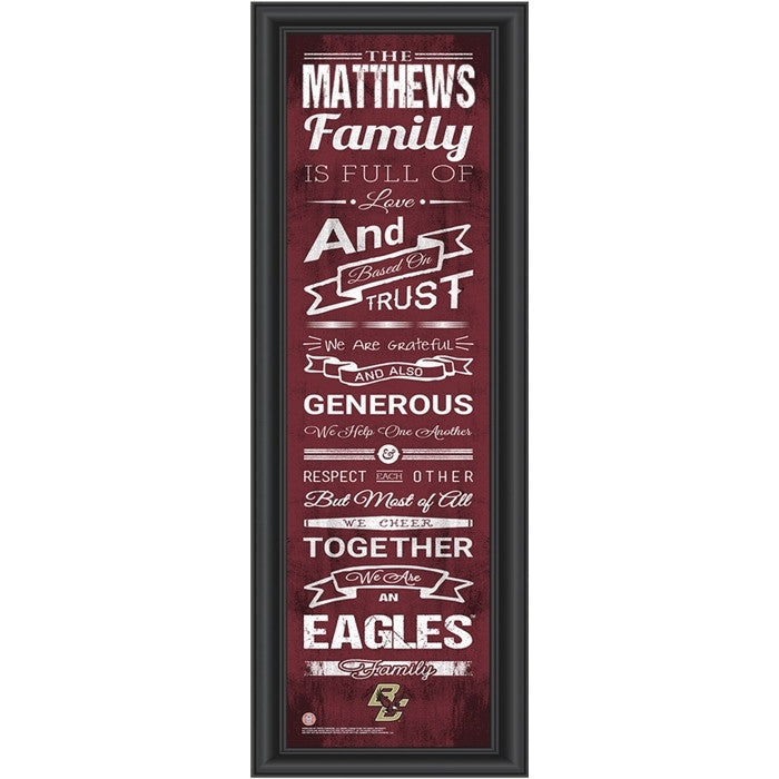 Boston College Eagles Personalized Family Cheer Print - Sports Fans Plus