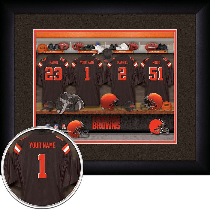 Cleveland Browns NFL Personalized Locker Room Print - Sports Fans Plus  - 1