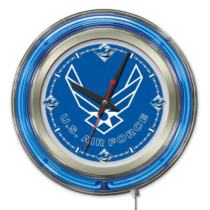 US Air Force 15-Inch Neon Logo Clock - Sports Fans Plus